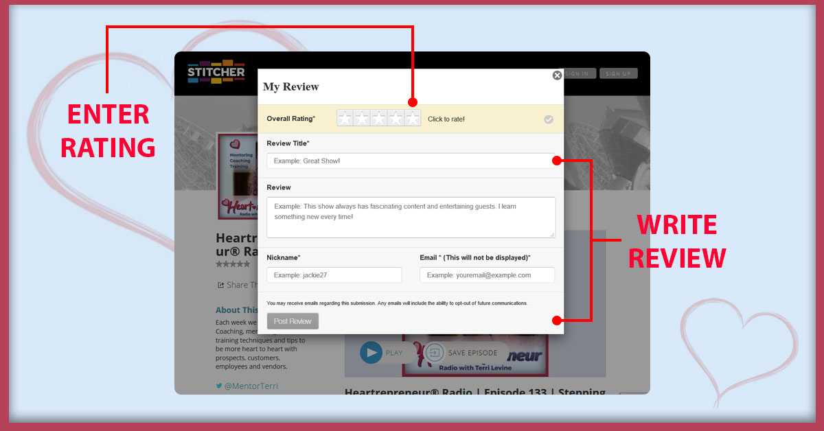 """HPR Rate Review Images Listen via Stitcher Radio On Demand2 - How To Subscribe & Rate Our Podcast """"5-stars"""" On iTunes"""